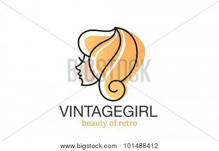 Woman head Logo watercolor style for Beauty Spa Hair Salon vector design template.