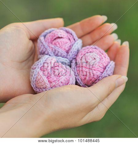 Knitted Rose Melange Yarn Handmade