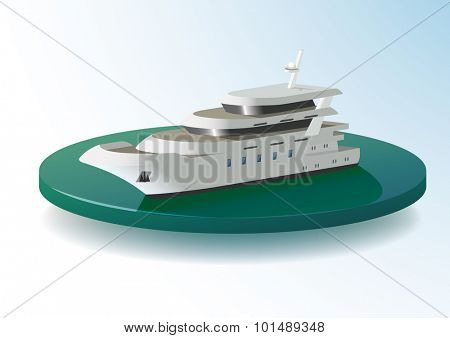 Motor boat on water area, vector Color Illustration.