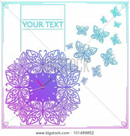 Butterfly Clock Colored