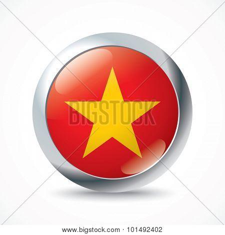 Vietnam flag button - vector illustration