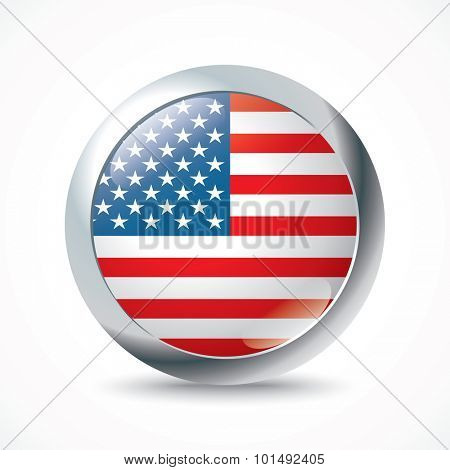 United States of America flag button - vector illustration