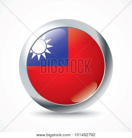 Taiwan flag button - vector illustration