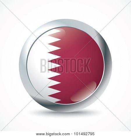 Qatar flag button - vector illustration