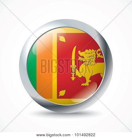 Sri Lanka flag button - vector illustration
