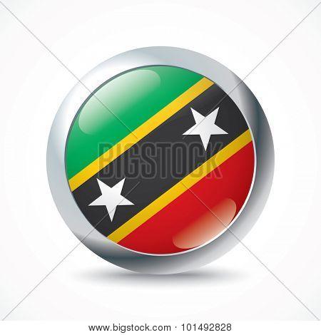Saint Kitts and Nevis flag button - vector illustration