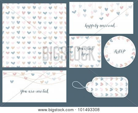 Wedding set hearts design, seamless pattern, tags and frames for invitations