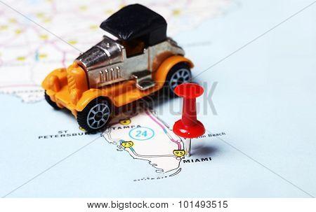 Miami  Usa Map Retro Car