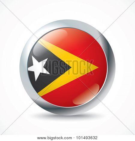 Timor-Leste flag button - vector illustration