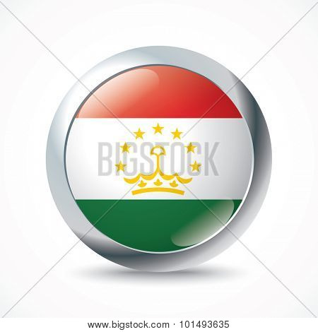 Tajikistan flag button - vector illustration