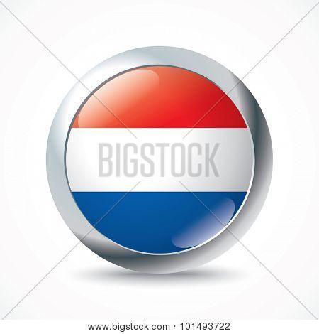 Netherlands flag button - vector illustration
