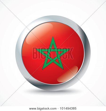 Morocco flag button - vector illustration