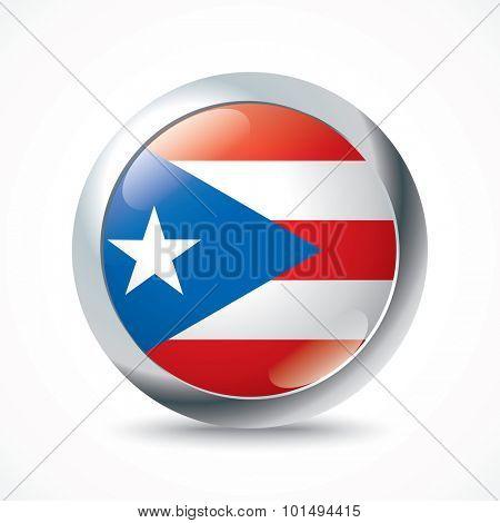 Puerto Rico flag button - vector illustration