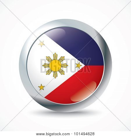 Philippines flag button - vector illustration