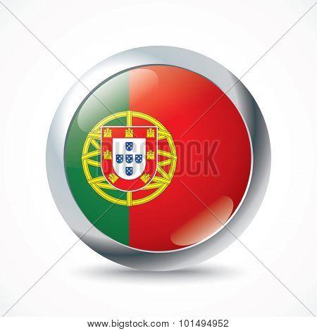 Portugal flag button - vector illustration