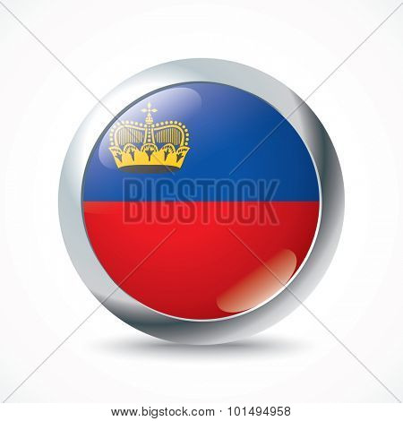 Liechtenstein flag button - vector illustration