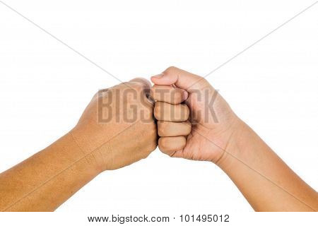 Fist Bump Gesturing An Agreement And Cooperation.