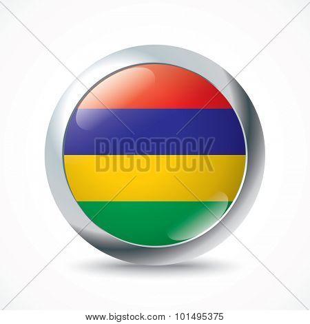 Mauritius flag button - vector illustration