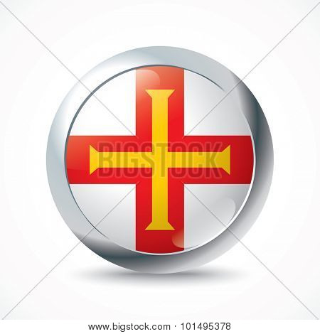 Guernsey flag button - vector illustration