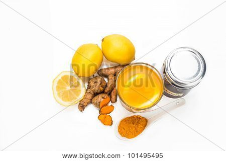 Turmeric Roots With Lemon And Honey Drinks, Powerful Healing Beverage.