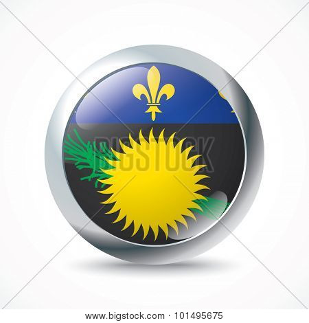 Guadeloupe flag button - vector illustration