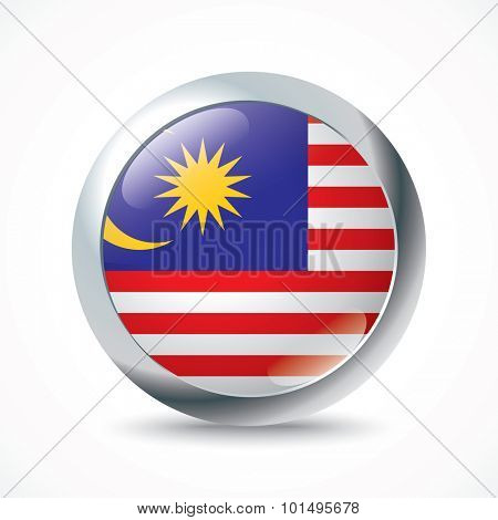 Malaysia flag button - vector illustration