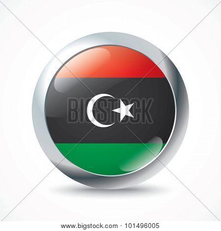 Libya flag button - vector illustration