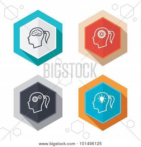 Head with brain icon.Female woman symbols.