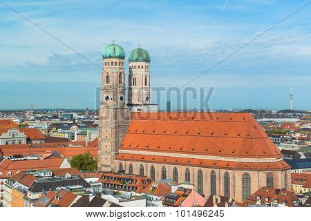 Aerial view of Munchen Marienplatz, New Town Hall and Frauenkirche