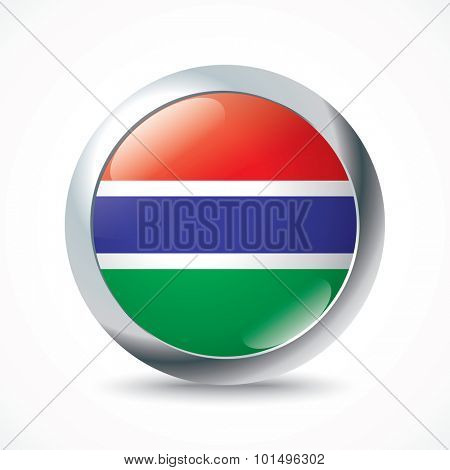 Gambia flag button - vector illustration