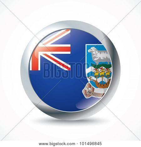 Falkland Islands flag button - vector illustration