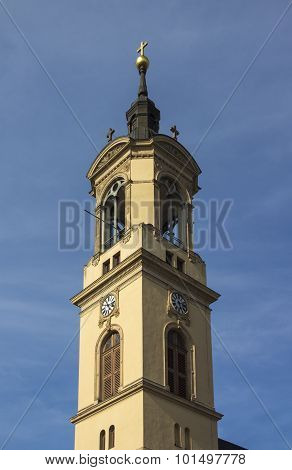 Bell Tower Of The Church Of Our Lady (marienkirche) In Werdau, Germany, 2015