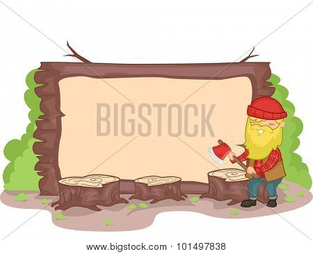 Banner Illustration of a Lumberjack Surrounded by Wood Stumps