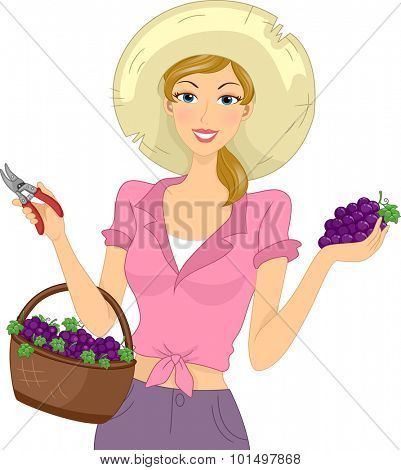 Illustration of a Girl Carrying a Basket of Freshly Harvested Grapes