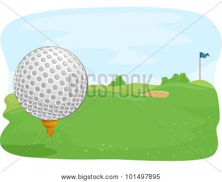 Close Up Illustration of a Golf Ball Lying in the Middle of a Golf Course