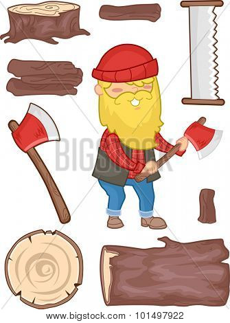 Illustration Set Featuring a Lumberjack Surrounded by Tools Used for Cutting Wood