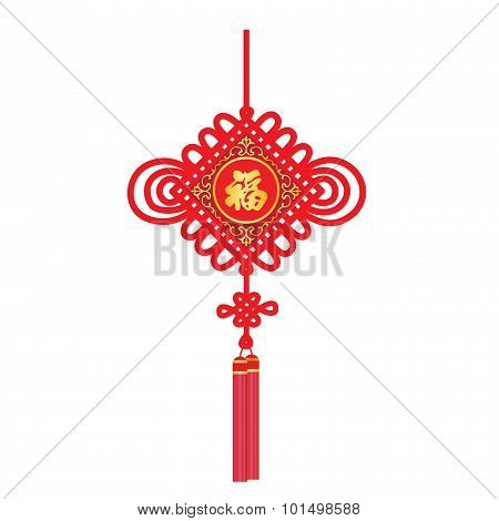 china knot for  Happy new year (Word chinese mean happiness)