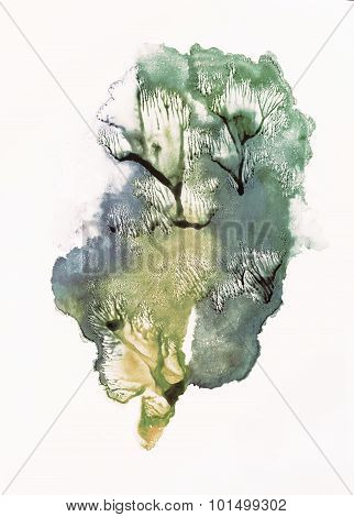 Trees. Rorschach. Yellow, blue and green watercolor.