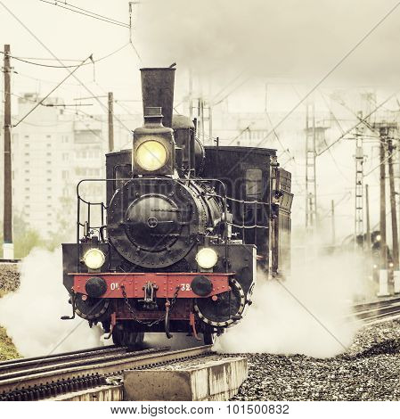 Old Retro Russian Steam Locomotive.