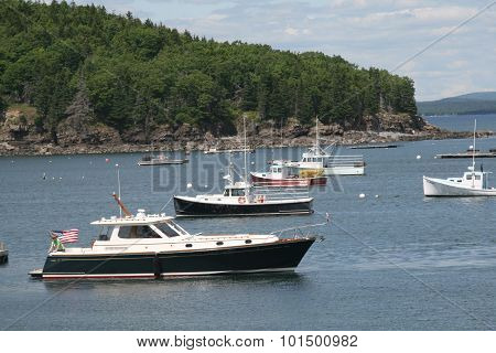 Lobster and recreational boats anchored at Bar Harbor, Maine