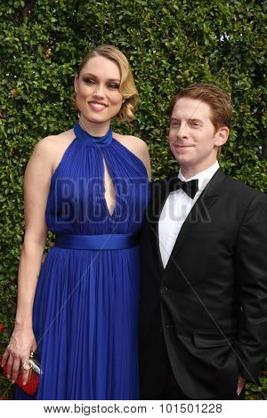 LOS ANGELES - SEP 12:  Clare Grant, Seth Green at the Primetime Creative Emmy Awards Arrivals at the Microsoft Theater on September 12, 2015 in Los Angeles, CA