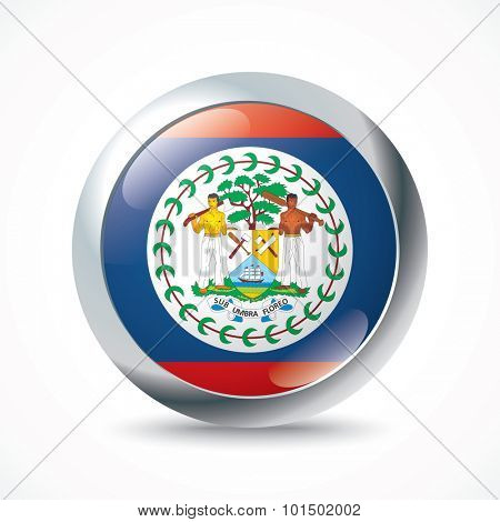 Belize flag button - vector illustration