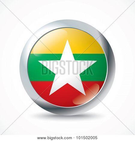 Burma flag button - vector illustration