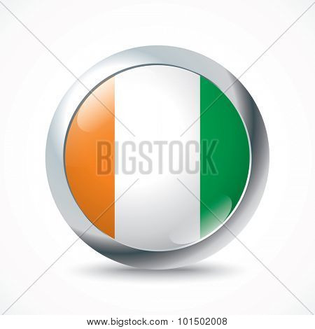 Coast of Ivory flag button - vector illustration