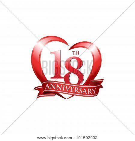 18th anniversary logo red heart ribbon