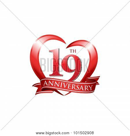 19th anniversary logo red heart ribbon
