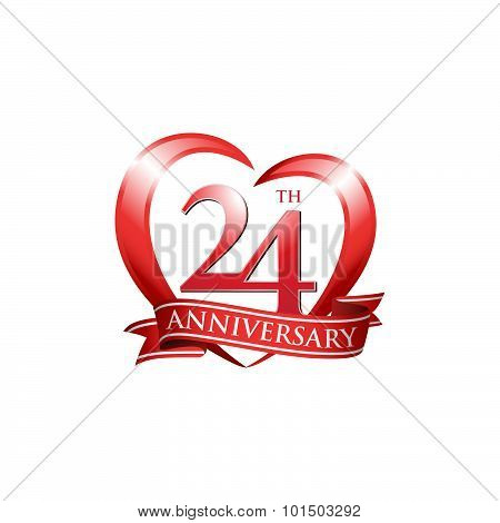 24th anniversary logo red heart ribbon