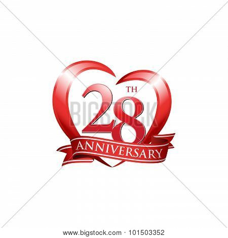 28th anniversary logo red heart ribbon