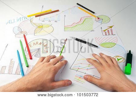 Man painting diagrams
