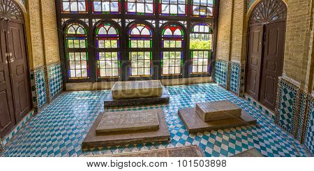 Marble graves in bright room